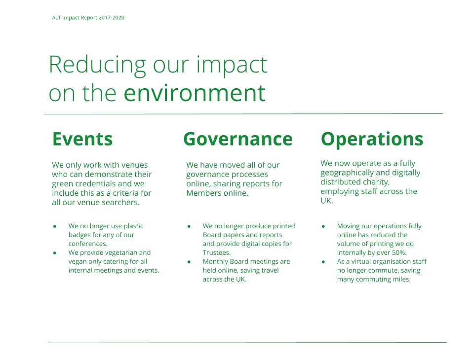 We only work with venues who can demonstrate their green credentials and we include this as a criteria for all our venue searchers. We have moved all of our governance processes online, sharing reports for Members online. We now operate as a fully geographically and digitally distributed charity, employing staff across the UK.