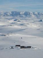 Looking north towards Hallingskarvet behind Kraekkja in Hardangervidda, Norway
