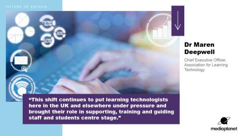 """""""This shift continues to put learning technologists here in the UK and elsewhere under pressure and brought their role in supporting, training and guiding staff and students centre stage."""" Dr Maren Deepwell, Chief Executive Officer, Association for learning technology"""