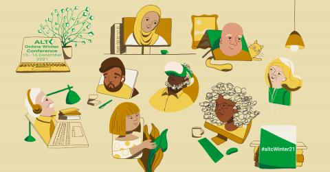 Online Winter Conference 2021 15-16 December 2021 #altcWinter21 - Conference artwork depicting individuals interacting with technology