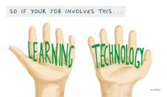 "Image of two hands holding ""Learning"" and ""Technology"""